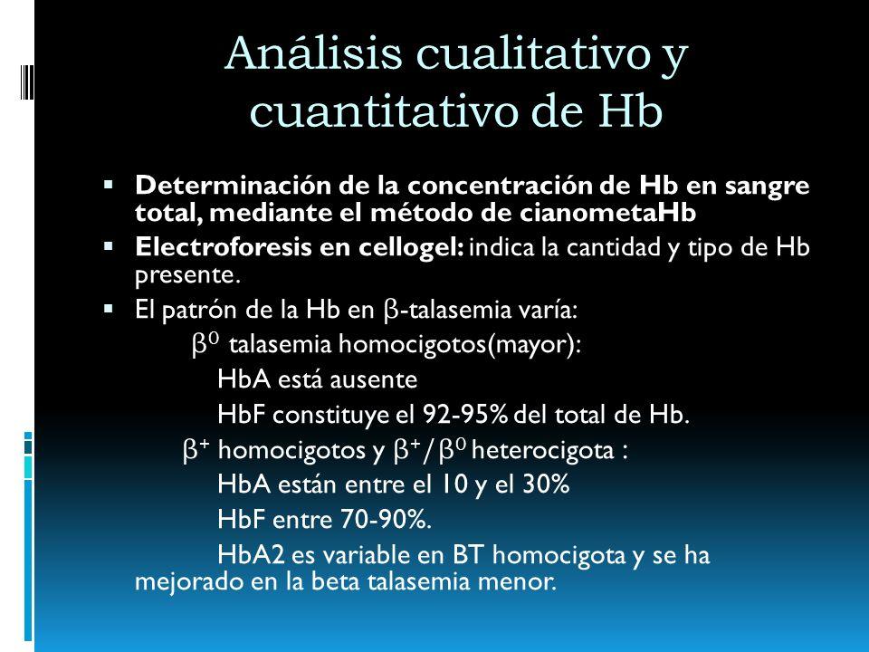 Análisis cualitativo y cuantitativo de Hb