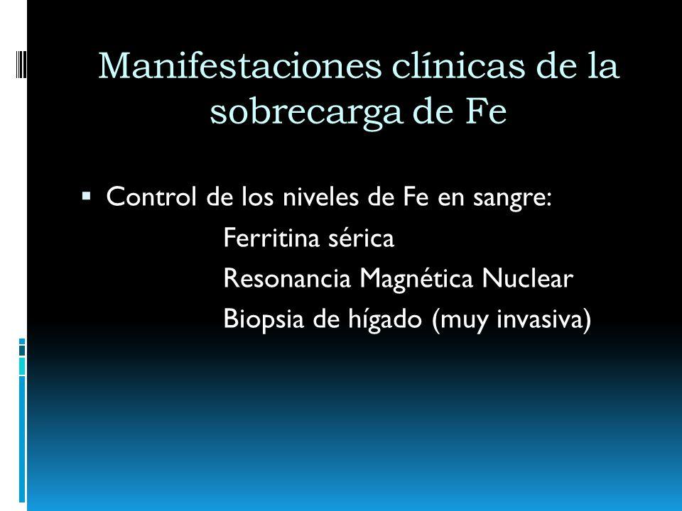 Manifestaciones clínicas de la sobrecarga de Fe