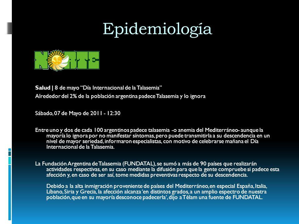 Epidemiología Salud | 8 de mayo Día Internacional de la Talasemia