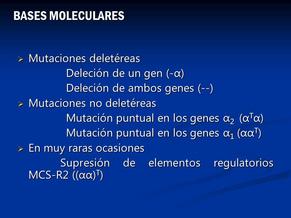 BASES MOLECULARES Mutaciones deletéreas Deleción de un gen (-α)
