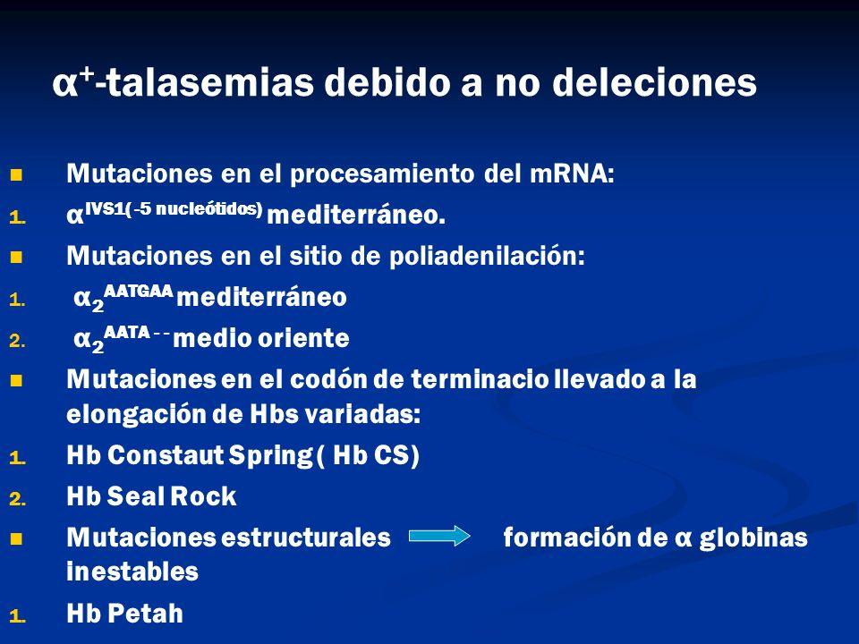 α+-talasemias debido a no deleciones