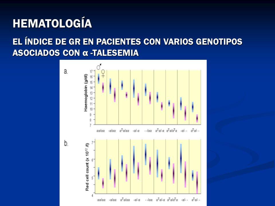 HEMATOLOGÍA EL ÍNDICE DE GR EN PACIENTES CON VARIOS GENOTIPOS ASOCIADOS CON α -TALESEMIA