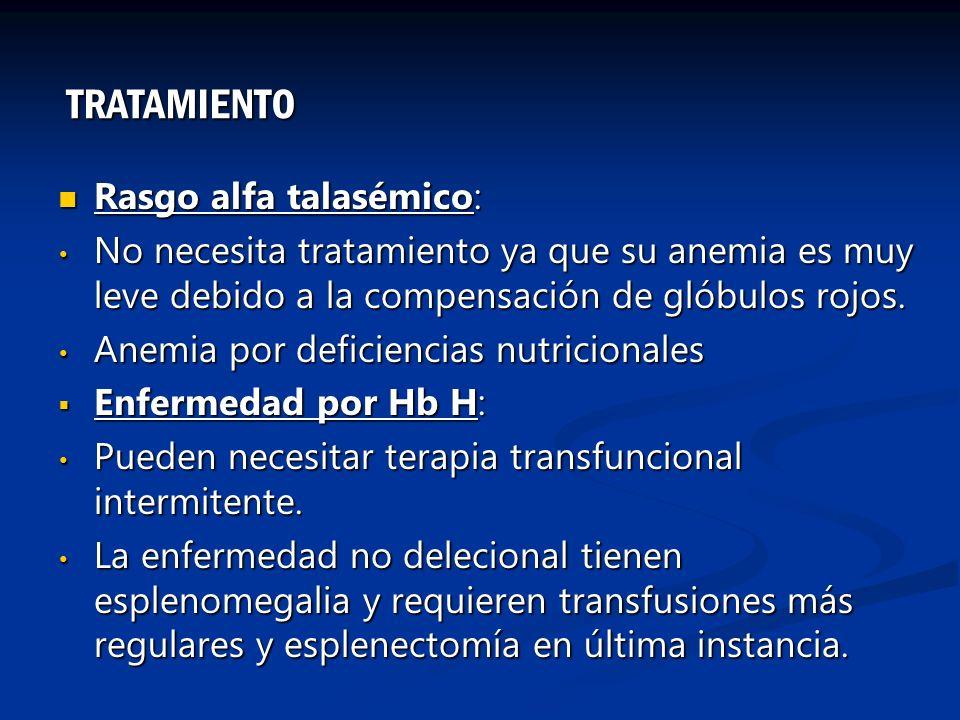TRATAMIENTO Rasgo alfa talasémico: