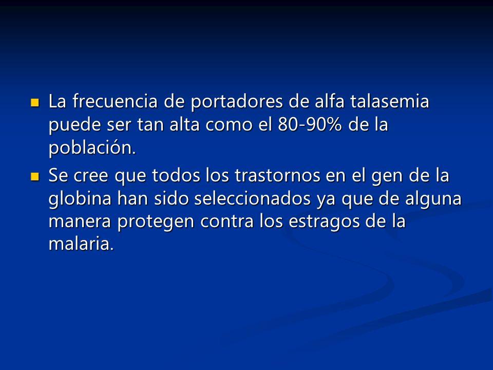 La frecuencia de portadores de alfa talasemia puede ser tan alta como el 80-90% de la población.