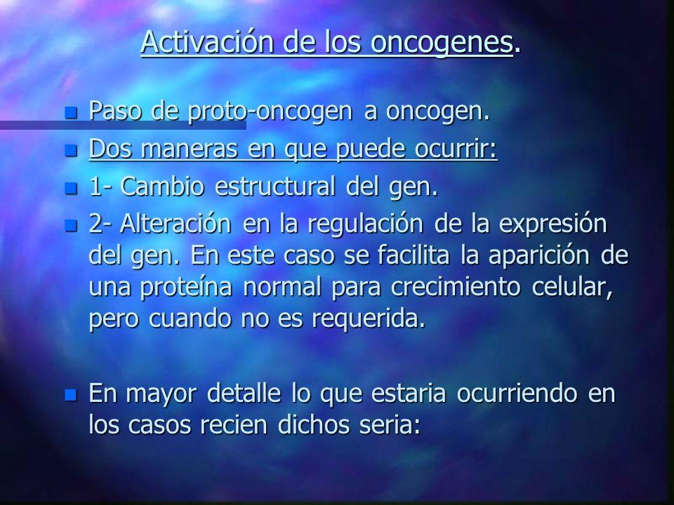 Activación de los oncogenes.