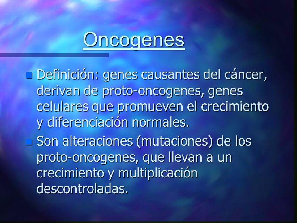 Oncogenes Definición: genes causantes del cáncer, derivan de proto-oncogenes, genes celulares que promueven el crecimiento y diferenciación normales.
