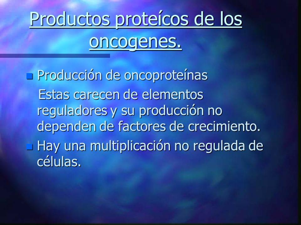 Productos proteícos de los oncogenes.