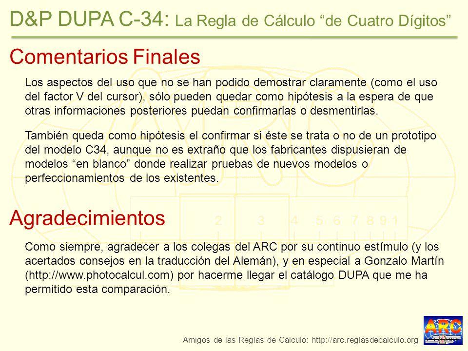 D&P DUPA C-34: La Regla de Cálculo de Cuatro Dígitos