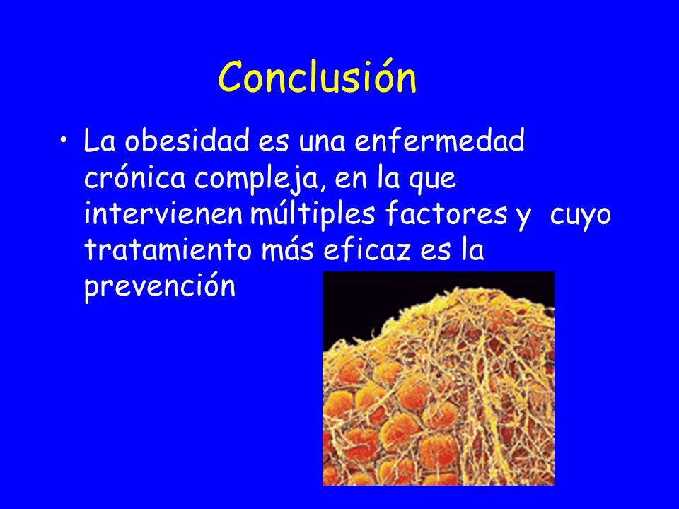 ConclusiónLa obesidad es una enfermedad crónica compleja, en la que intervienen múltiples factores y cuyo tratamiento más eficaz es la prevención.