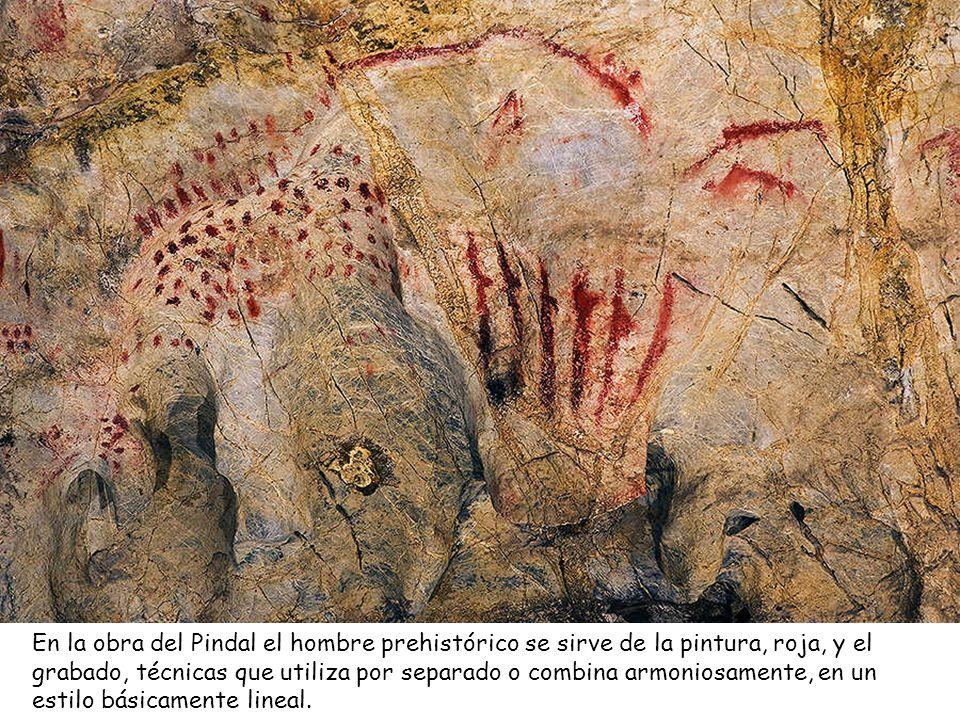 En la obra del Pindal el hombre prehistórico se sirve de la pintura, roja, y el grabado, técnicas que utiliza por separado o combina armoniosamente, en un estilo básicamente lineal.