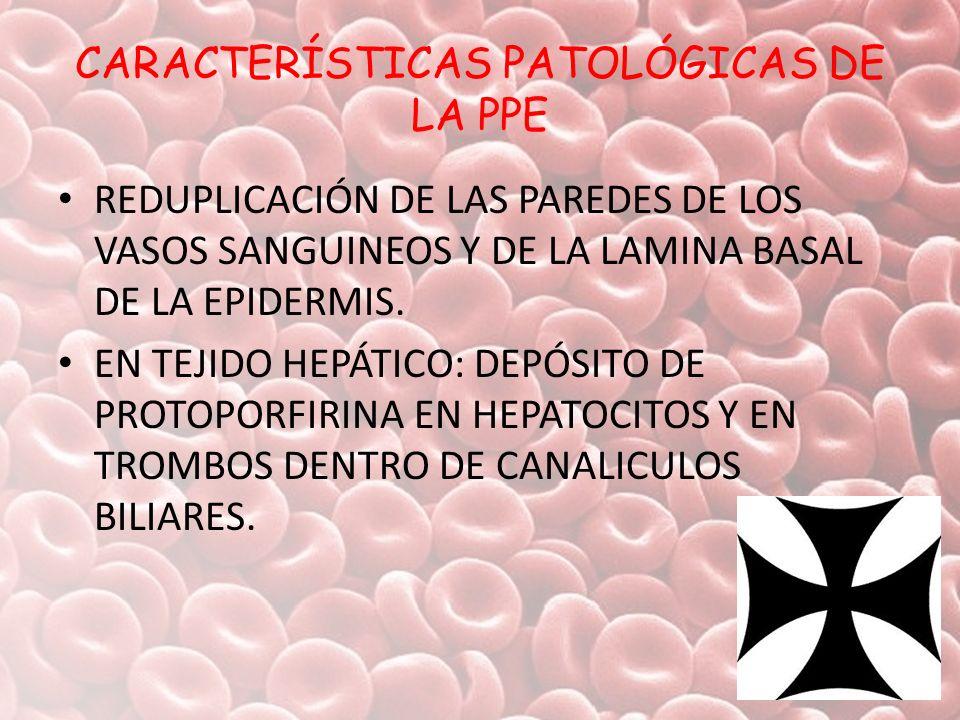 CARACTERÍSTICAS PATOLÓGICAS DE LA PPE