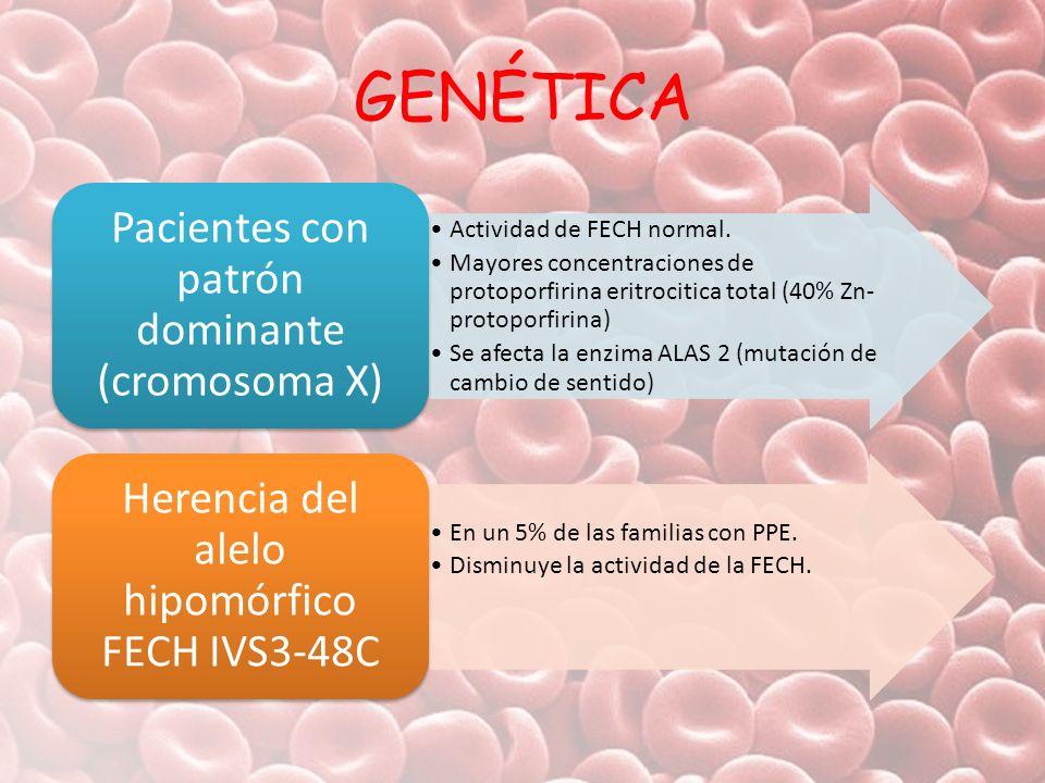 GENÉTICA Pacientes con patrón dominante (cromosoma X)