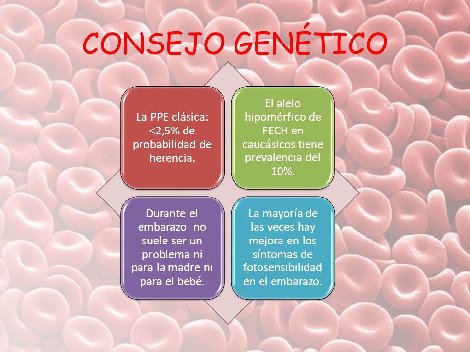 CONSEJO GENÉTICO La PPE clásica: <2,5% de probabilidad de herencia.