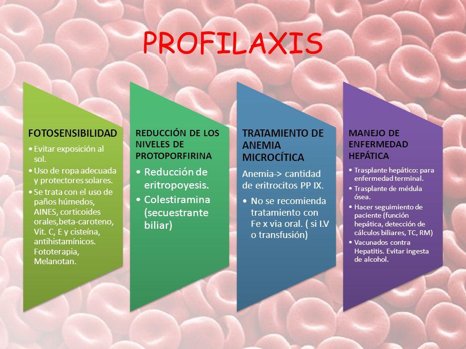 PROFILAXIS Reducción de eritropoyesis.