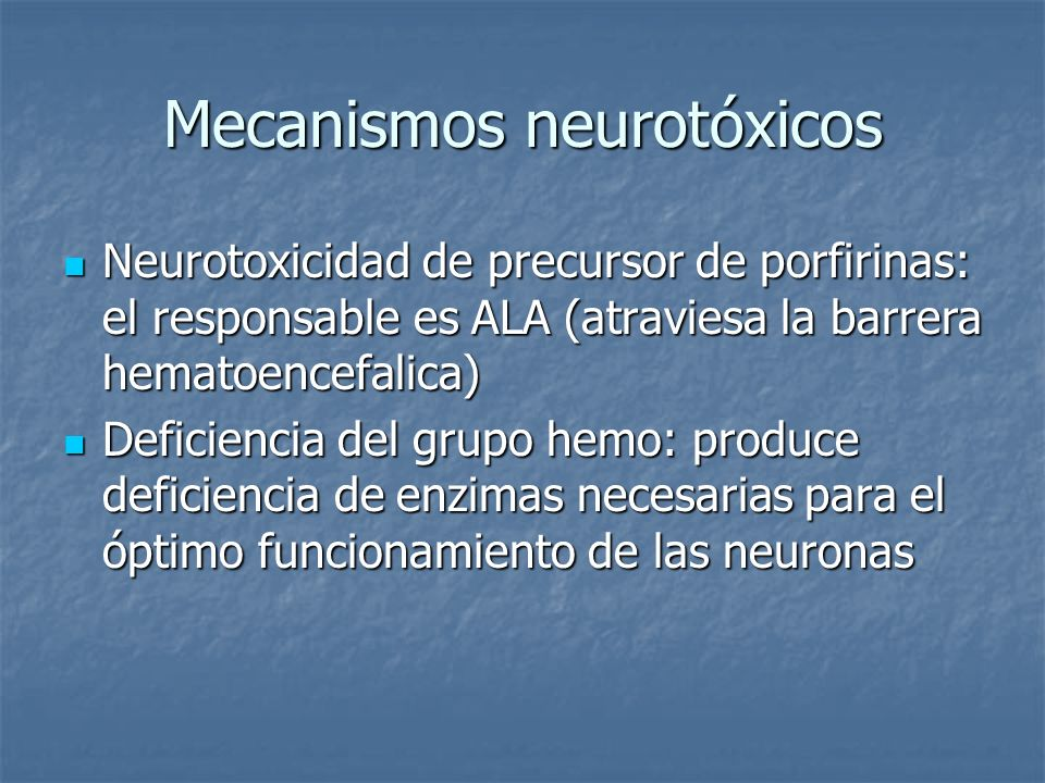 Mecanismos neurotóxicos