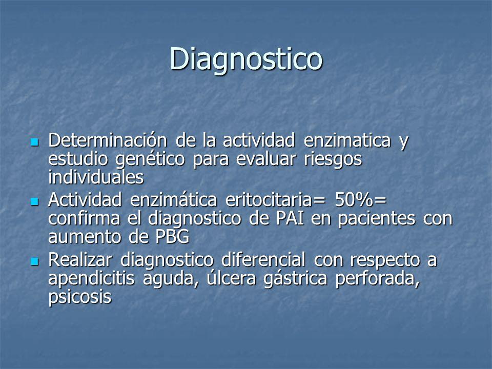 Diagnostico Determinación de la actividad enzimatica y estudio genético para evaluar riesgos individuales.