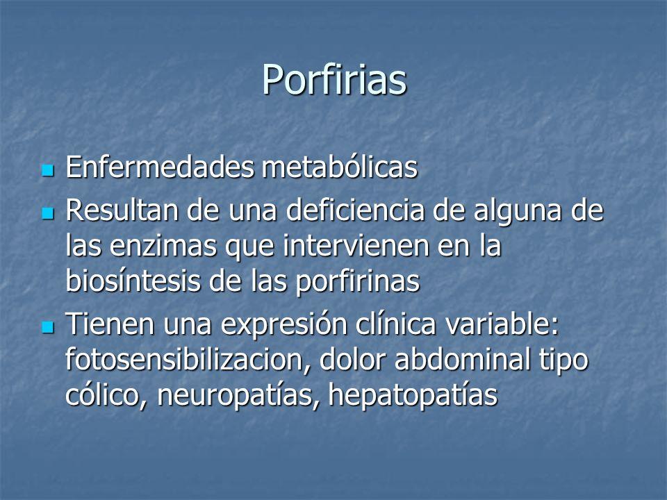Porfirias Enfermedades metabólicas
