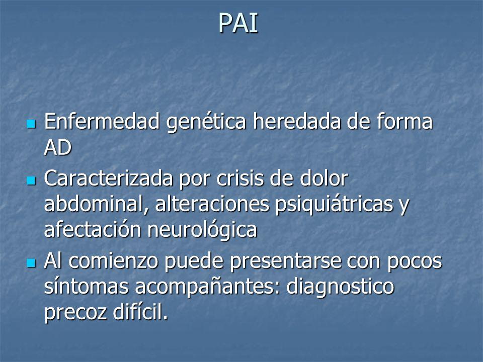 PAI Enfermedad genética heredada de forma AD