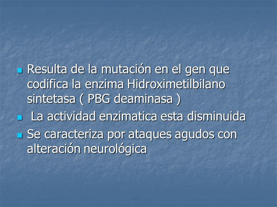 Resulta de la mutación en el gen que codifica la enzima Hidroximetilbilano sintetasa ( PBG deaminasa )