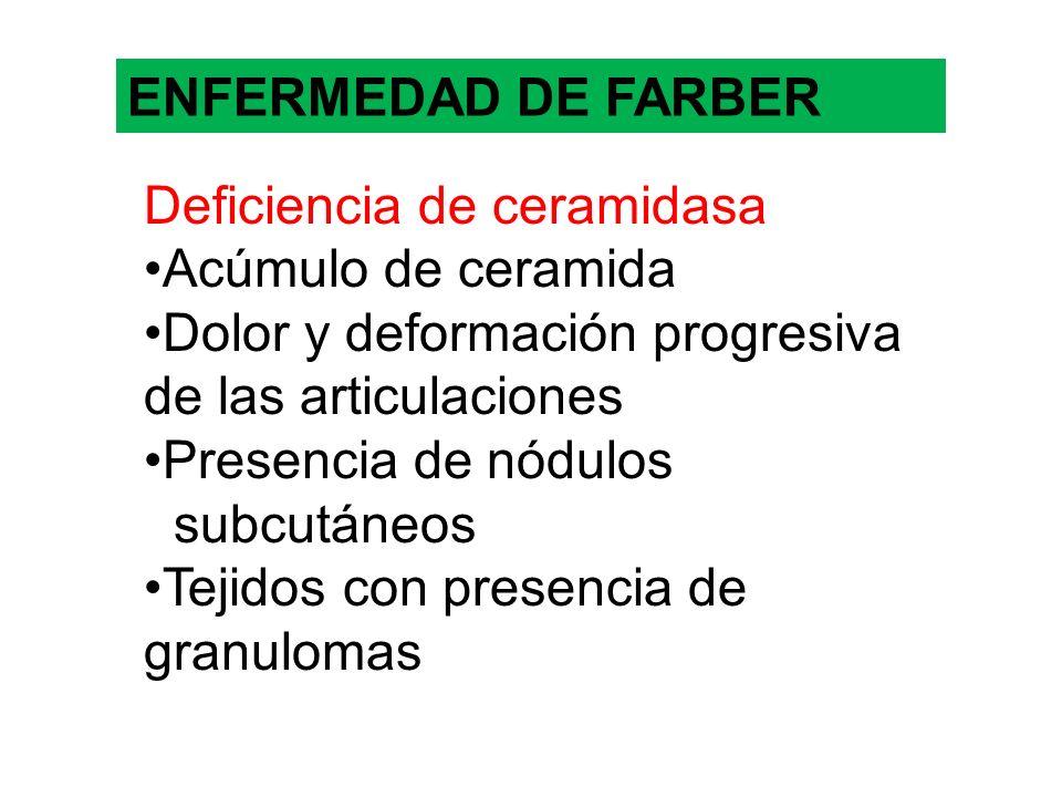 ENFERMEDAD DE FARBERDeficiencia de ceramidasa. Acúmulo de ceramida. Dolor y deformación progresiva de las articulaciones.