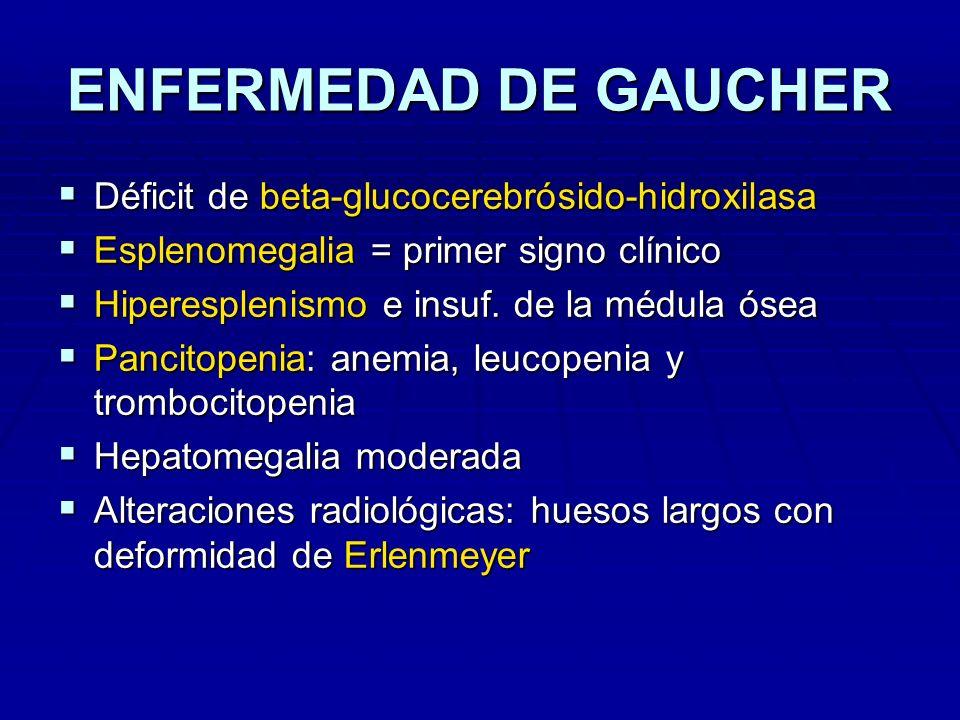 ENFERMEDAD DE GAUCHER Déficit de beta-glucocerebrósido-hidroxilasa