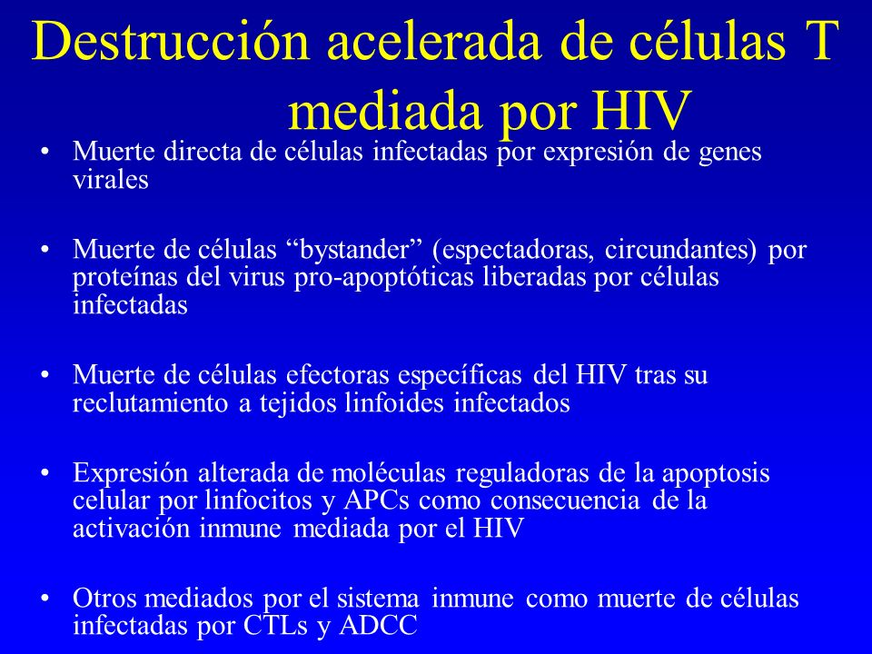 Destrucción acelerada de células T mediada por HIV