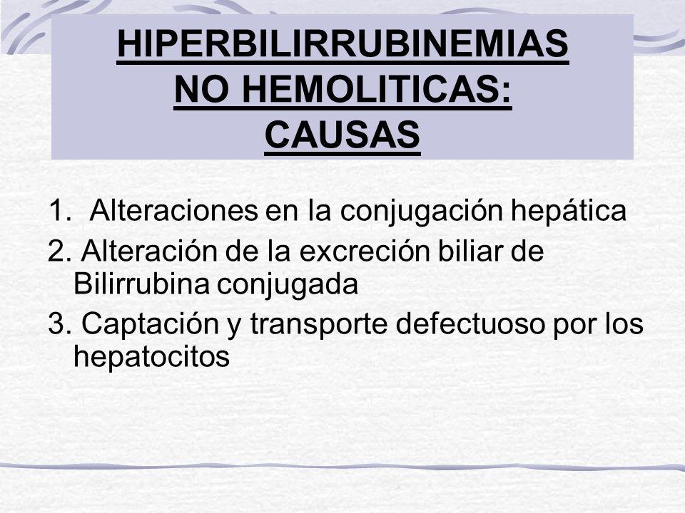 HIPERBILIRRUBINEMIAS NO HEMOLITICAS: CAUSAS