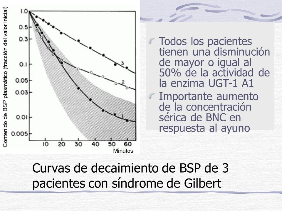Curvas de decaimiento de BSP de 3 pacientes con síndrome de Gilbert