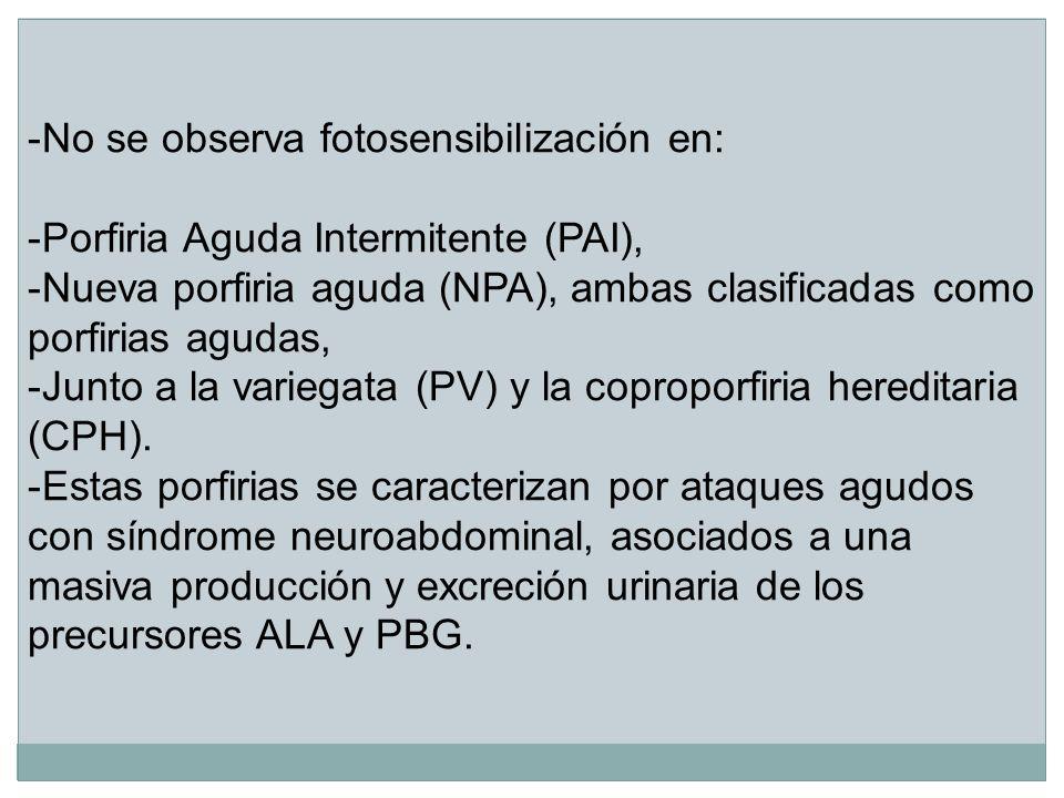 No se observa fotosensibilización en: