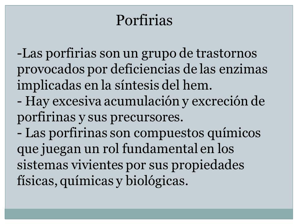 PorfiriasLas porfirias son un grupo de trastornos provocados por deficiencias de las enzimas implicadas en la síntesis del hem.
