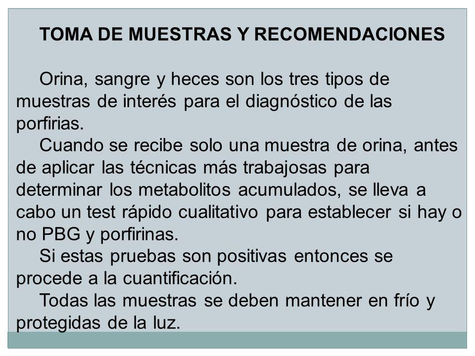 TOMA DE MUESTRAS Y RECOMENDACIONES