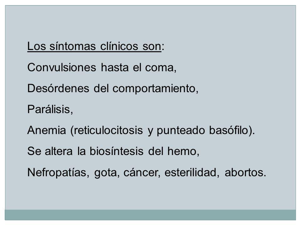 Los síntomas clínicos son: