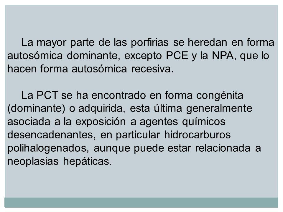 La mayor parte de las porfirias se heredan en forma autosómica dominante, excepto PCE y la NPA, que lo hacen forma autosómica recesiva.
