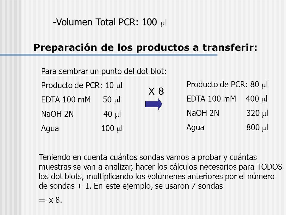 Preparación de los productos a transferir: