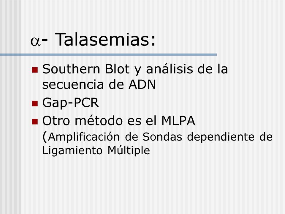 a- Talasemias: Southern Blot y análisis de la secuencia de ADN Gap-PCR