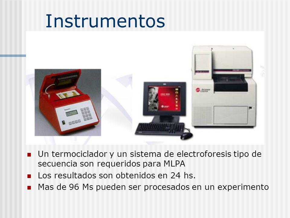 Instrumentos Un termociclador y un sistema de electroforesis tipo de secuencia son requeridos para MLPA.