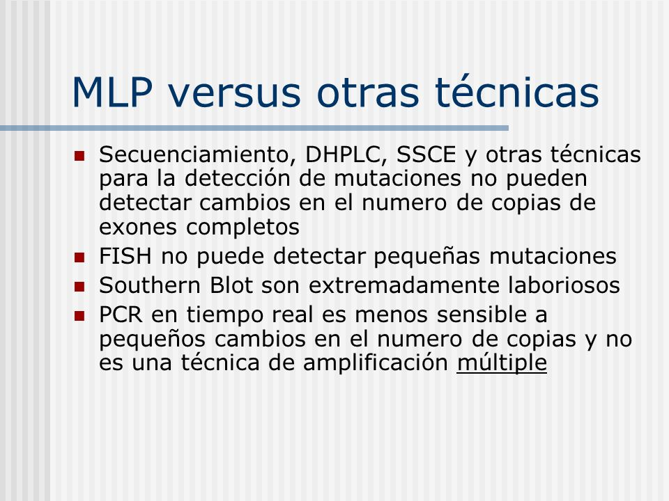 MLP versus otras técnicas