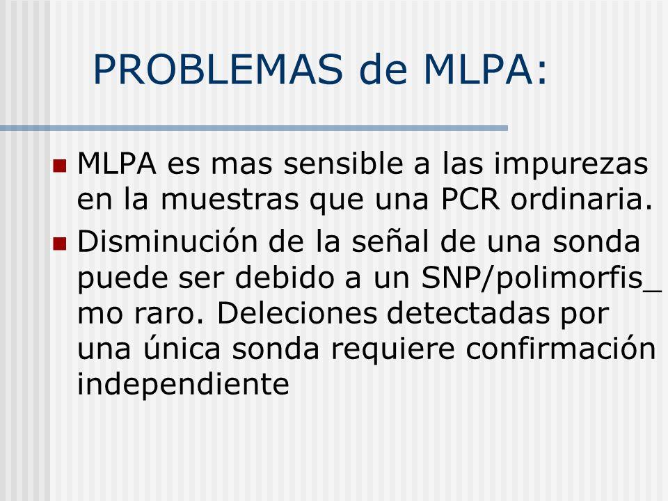 PROBLEMAS de MLPA: MLPA es mas sensible a las impurezas en la muestras que una PCR ordinaria.