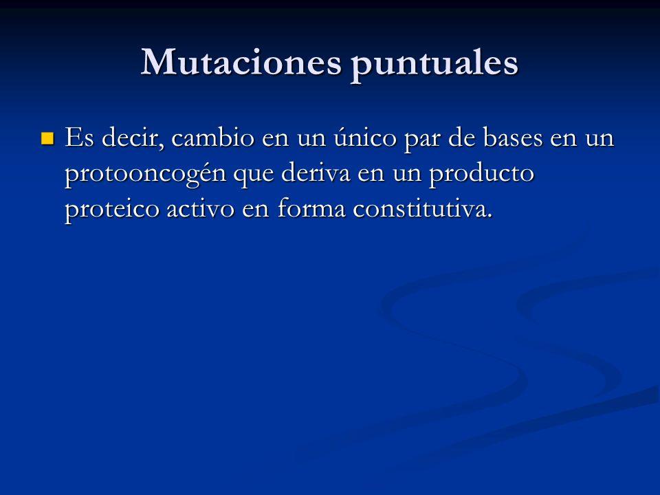 Mutaciones puntuales Es decir, cambio en un único par de bases en un protooncogén que deriva en un producto proteico activo en forma constitutiva.