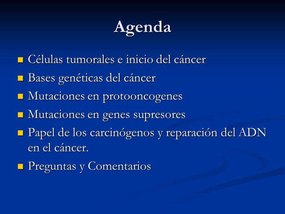 Agenda Células tumorales e inicio del cáncer