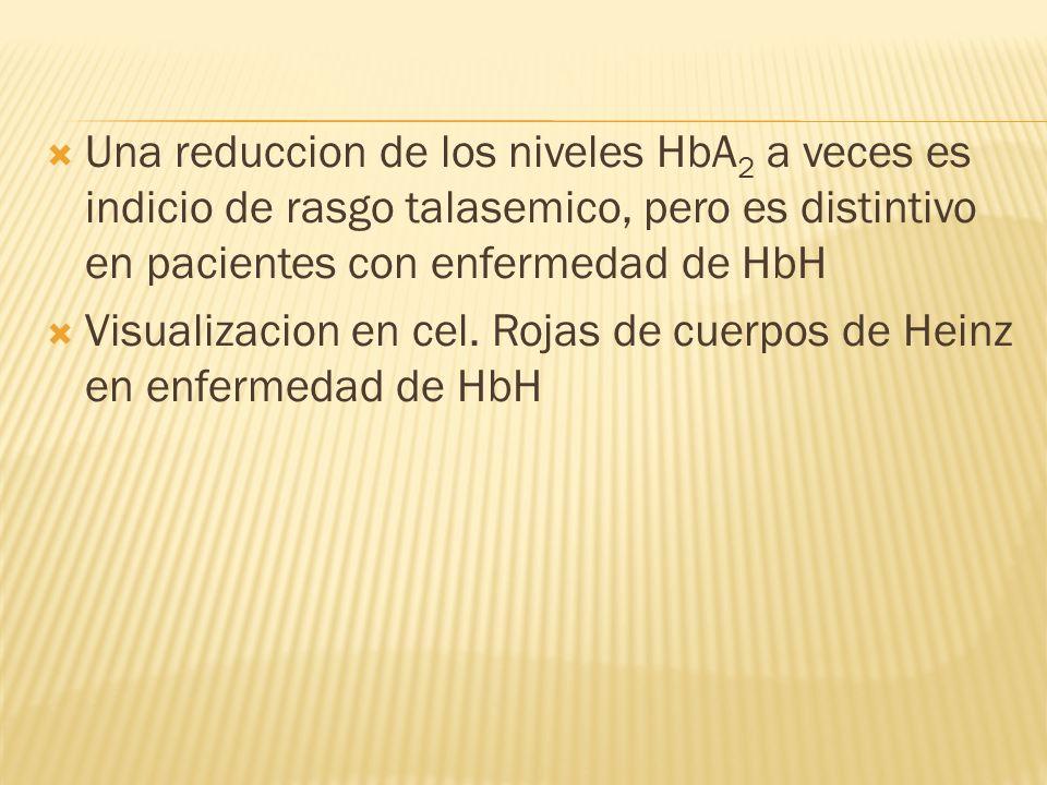 Una reduccion de los niveles HbA2 a veces es indicio de rasgo talasemico, pero es distintivo en pacientes con enfermedad de HbH