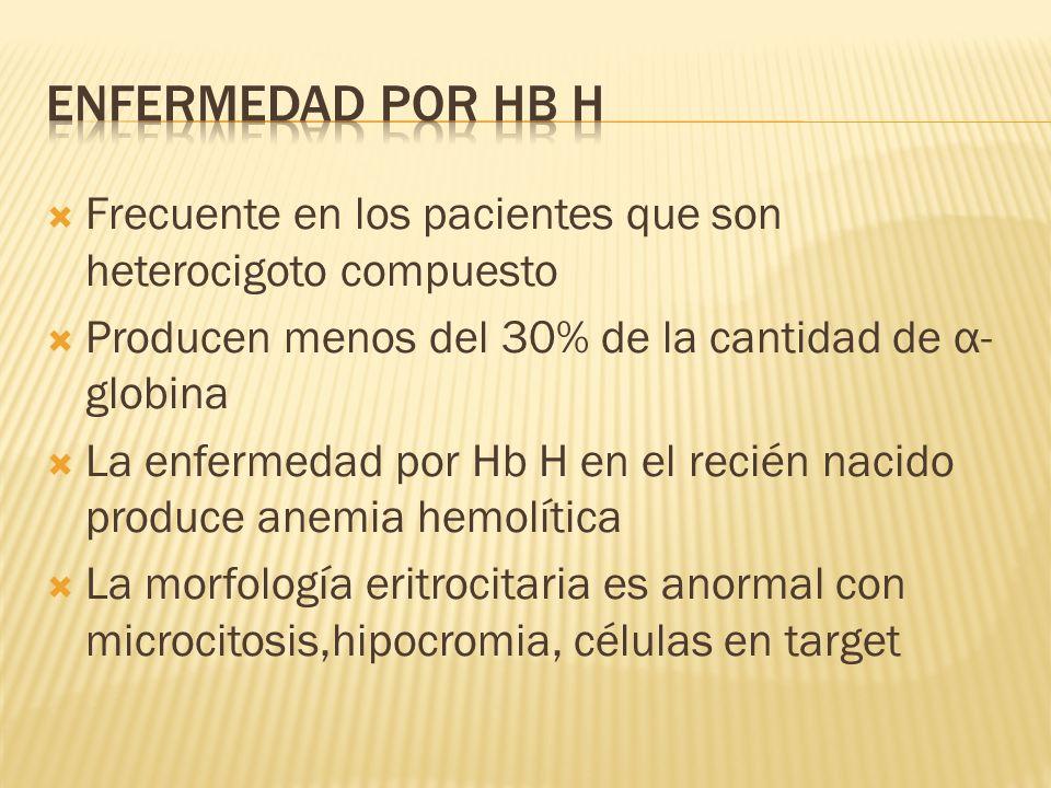Enfermedad por Hb h Frecuente en los pacientes que son heterocigoto compuesto. Producen menos del 30% de la cantidad de α-globina.
