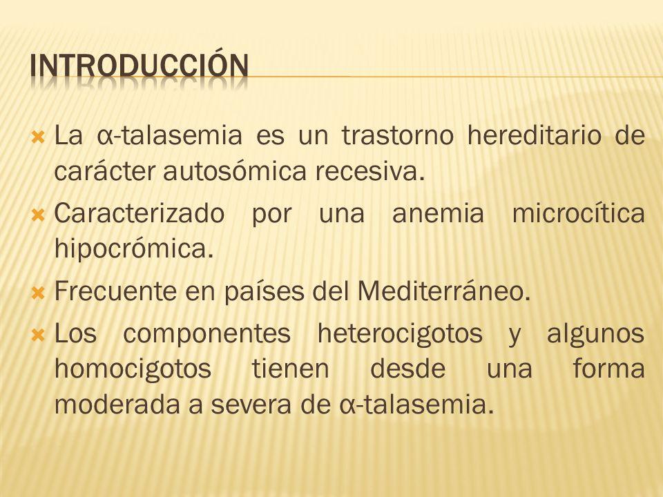INTRODUCCIÓN La α-talasemia es un trastorno hereditario de carácter autosómica recesiva. Caracterizado por una anemia microcítica hipocrómica.