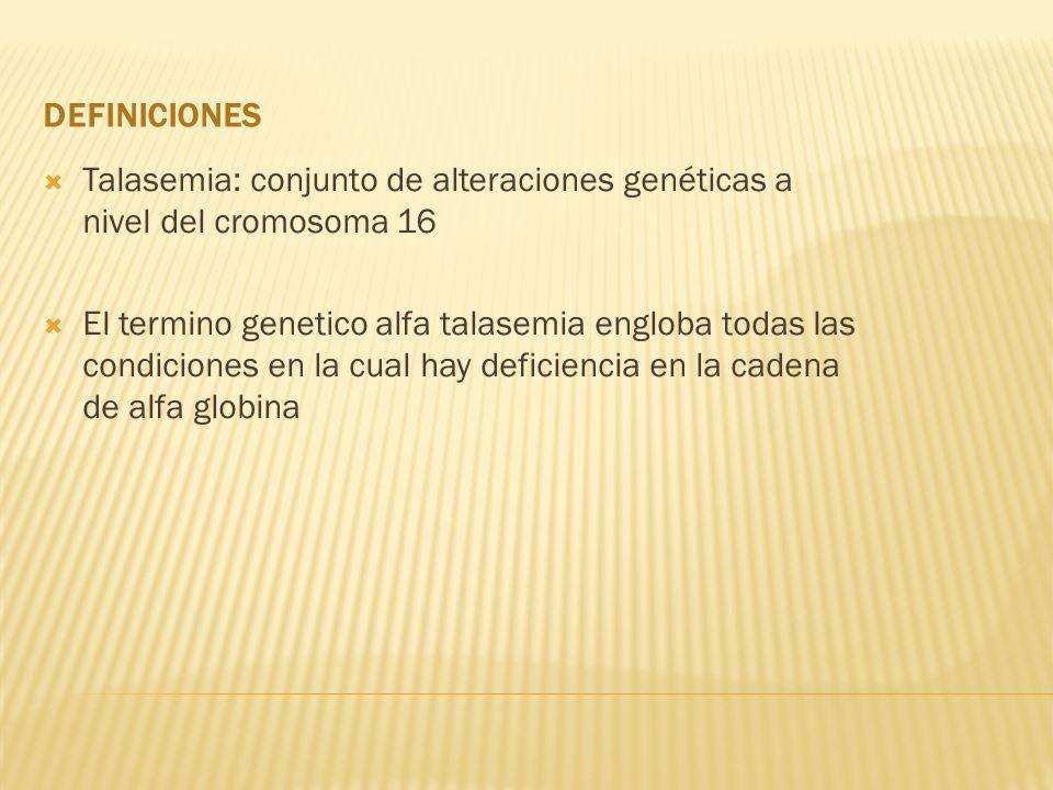 Definiciones Talasemia: conjunto de alteraciones genéticas a nivel del cromosoma 16.