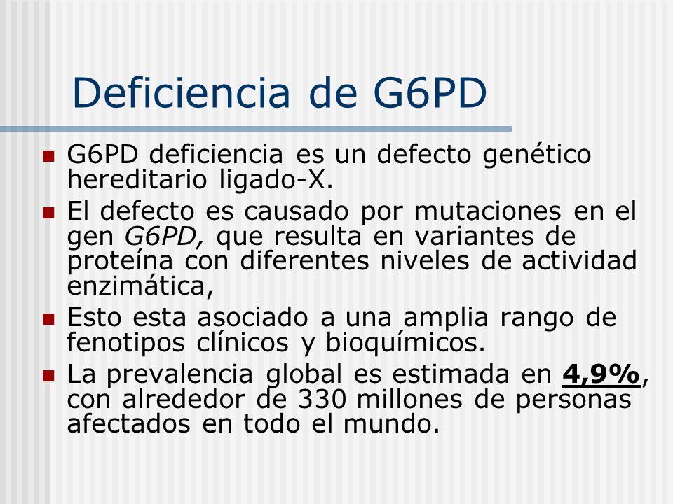 Deficiencia de G6PDG6PD deficiencia es un defecto genético hereditario ligado-X.