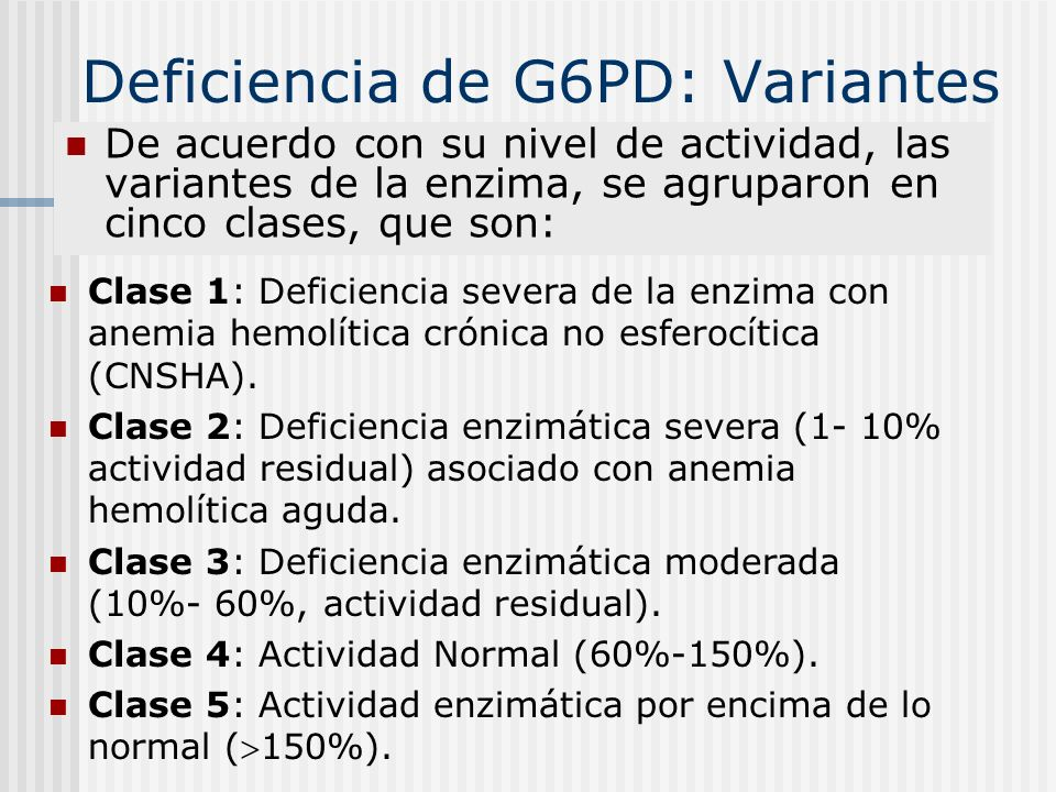 Deficiencia de G6PD: Variantes