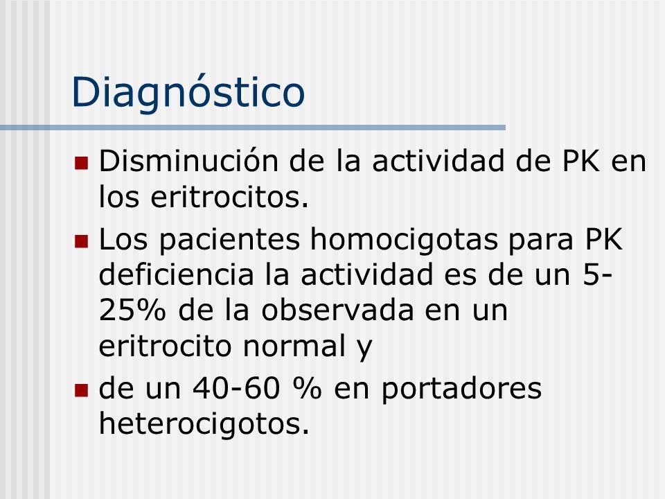 Diagnóstico Disminución de la actividad de PK en los eritrocitos.