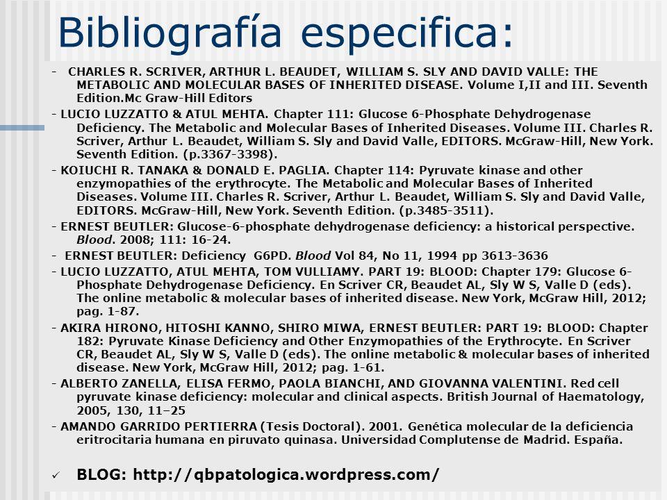 Bibliografía especifica: