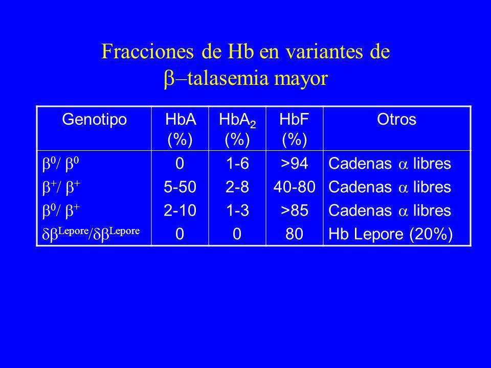 Fracciones de Hb en variantes de –talasemia mayor