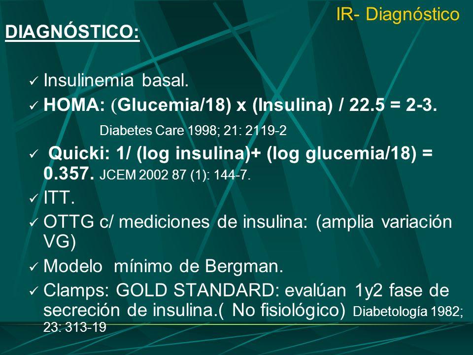 IR- DiagnósticoDIAGNÓSTICO: Insulinemia basal. HOMA: Glucemia/18) x (Insulina) / 22.5 = 2-3. Diabetes Care 1998; 21: 2119-2.